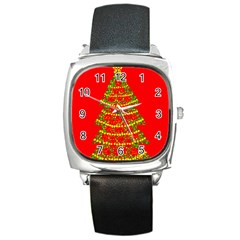 Sparkling Christmas Tree   Red Square Metal Watch by Valentinaart