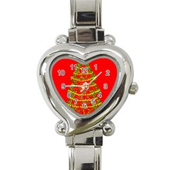 Sparkling Christmas Tree   Red Heart Italian Charm Watch by Valentinaart