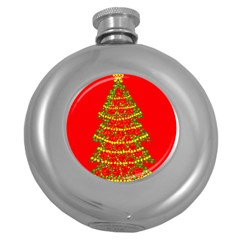 Sparkling Christmas Tree   Red Round Hip Flask (5 Oz) by Valentinaart