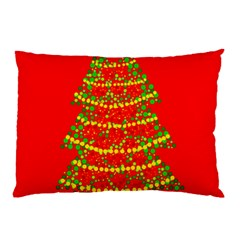 Sparkling Christmas Tree   Red Pillow Case by Valentinaart