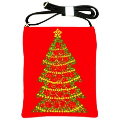 Sparkling Christmas Tree   Red Shoulder Sling Bags by Valentinaart