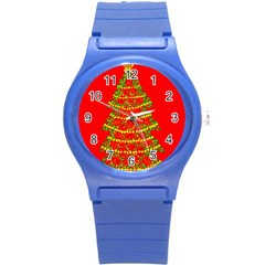 Sparkling Christmas Tree   Red Round Plastic Sport Watch (s) by Valentinaart
