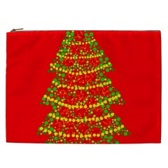 Sparkling Christmas Tree   Red Cosmetic Bag (xxl)  by Valentinaart