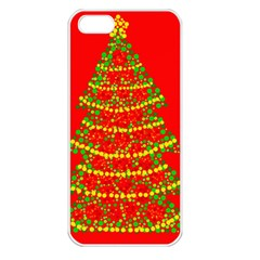 Sparkling Christmas Tree   Red Apple Iphone 5 Seamless Case (white) by Valentinaart