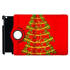 Sparkling Christmas Tree   Red Apple Ipad 2 Flip 360 Case by Valentinaart