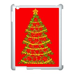 Sparkling Christmas Tree   Red Apple Ipad 3/4 Case (white) by Valentinaart