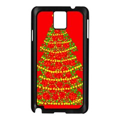 Sparkling Christmas Tree   Red Samsung Galaxy Note 3 N9005 Case (black) by Valentinaart