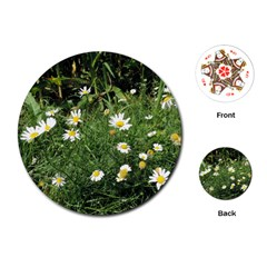 Wild Daisy Summer Flowers Playing Cards (round)  by picsaspassion