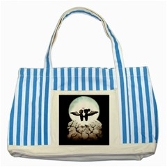 The World Comes Crashing Down Striped Blue Tote Bag by lvbart