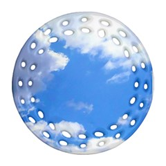 Summer Clouds And Blue Sky Round Filigree Ornament (2side) by picsaspassion