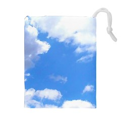 Summer Clouds And Blue Sky Drawstring Pouches (extra Large) by picsaspassion