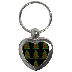 Christmas Trees Pattern Key Chains (heart)  by Valentinaart