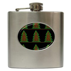 Christmas Trees Pattern Hip Flask (6 Oz) by Valentinaart