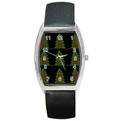Christmas Trees Pattern Barrel Style Metal Watch by Valentinaart