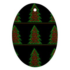 Christmas Trees Pattern Oval Ornament (two Sides) by Valentinaart