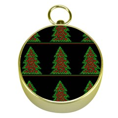 Christmas Trees Pattern Gold Compasses by Valentinaart
