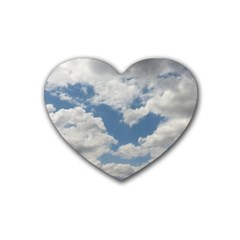 Breezy Clouds In The Sky Heart Coaster (4 Pack)  by picsaspassion