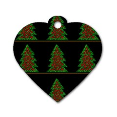 Christmas Trees Pattern Dog Tag Heart (two Sides) by Valentinaart