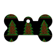 Christmas Trees Pattern Dog Tag Bone (two Sides) by Valentinaart
