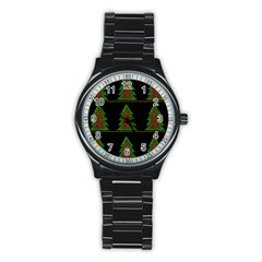 Christmas Trees Pattern Stainless Steel Round Watch by Valentinaart