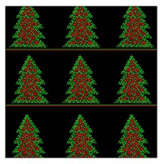 Christmas Trees Pattern Large Satin Scarf (square) by Valentinaart