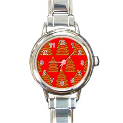 Christmas Trees Red Pattern Round Italian Charm Watch by Valentinaart