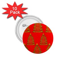 Christmas Trees Red Pattern 1 75  Buttons (10 Pack) by Valentinaart