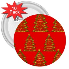 Christmas Trees Red Pattern 3  Buttons (10 Pack)  by Valentinaart