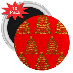 Christmas Trees Red Pattern 3  Magnets (10 Pack)  by Valentinaart