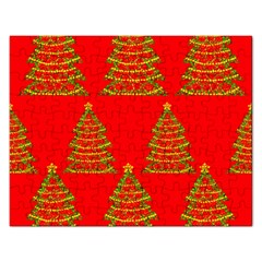 Christmas Trees Red Pattern Rectangular Jigsaw Puzzl by Valentinaart