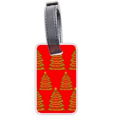 Christmas Trees Red Pattern Luggage Tags (one Side)  by Valentinaart
