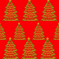 Christmas Trees Red Pattern Magic Photo Cubes by Valentinaart