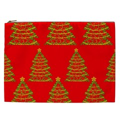 Christmas Trees Red Pattern Cosmetic Bag (xxl)  by Valentinaart