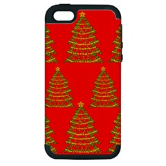 Christmas Trees Red Pattern Apple Iphone 5 Hardshell Case (pc+silicone) by Valentinaart