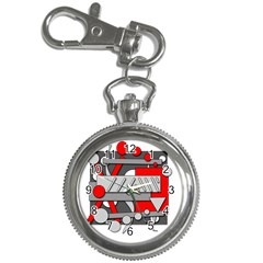 Gray And Red Geometrical Design Key Chain Watches by Valentinaart