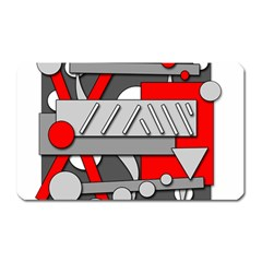 Gray And Red Geometrical Design Magnet (rectangular) by Valentinaart