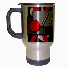 Gray And Red Geometrical Design Travel Mug (silver Gray) by Valentinaart