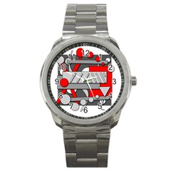 Gray And Red Geometrical Design Sport Metal Watch by Valentinaart