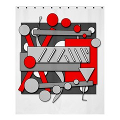 Gray And Red Geometrical Design Shower Curtain 60  X 72  (medium)  by Valentinaart