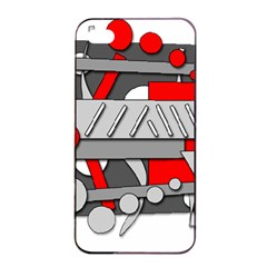 Gray And Red Geometrical Design Apple Iphone 4/4s Seamless Case (black) by Valentinaart