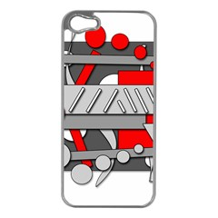 Gray And Red Geometrical Design Apple Iphone 5 Case (silver)