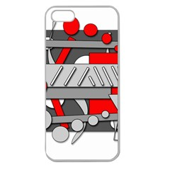 Gray And Red Geometrical Design Apple Seamless Iphone 5 Case (clear) by Valentinaart