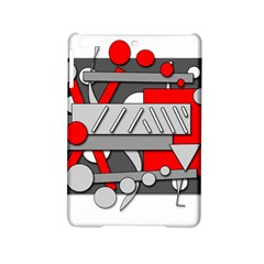 Gray And Red Geometrical Design Ipad Mini 2 Hardshell Cases by Valentinaart