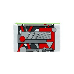 Gray And Red Geometrical Design Cosmetic Bag (xs) by Valentinaart