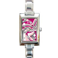 Magenta, Pink And Gray Design Rectangle Italian Charm Watch by Valentinaart