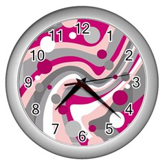 Magenta, Pink And Gray Design Wall Clocks (silver)  by Valentinaart