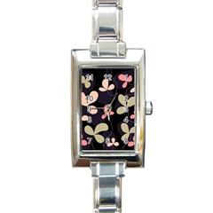 Elegant Floral Design Rectangle Italian Charm Watch by Valentinaart