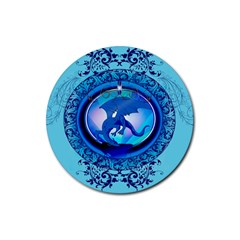 The Blue Dragpn On A Round Button With Floral Elements Rubber Round Coaster (4 pack)  by FantasyWorld7