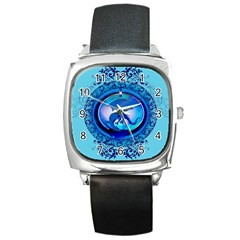The Blue Dragpn On A Round Button With Floral Elements Square Metal Watch by FantasyWorld7