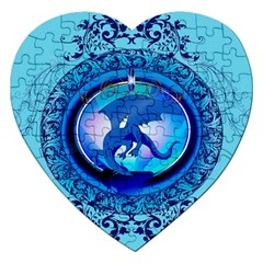 The Blue Dragpn On A Round Button With Floral Elements Jigsaw Puzzle (heart) by FantasyWorld7